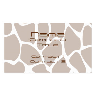 Giraffe Print Pattern in Brown. Pack Of Standard Business Cards
