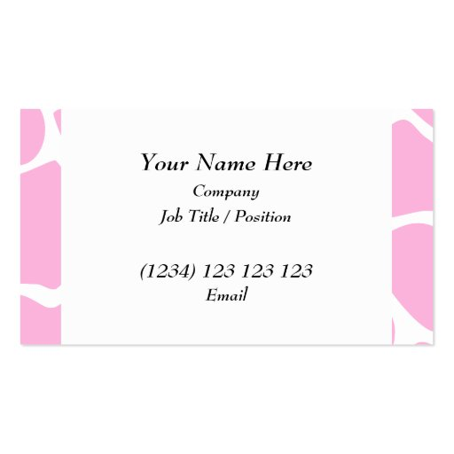 Giraffe Print Pattern in Candy Pink. Business Card Templates
