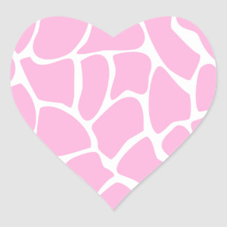 Giraffe Print Pattern in Candy Pink. Heart Sticker