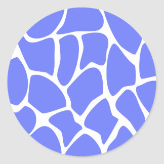 Giraffe Print Pattern in Cornflower Blue Stickers