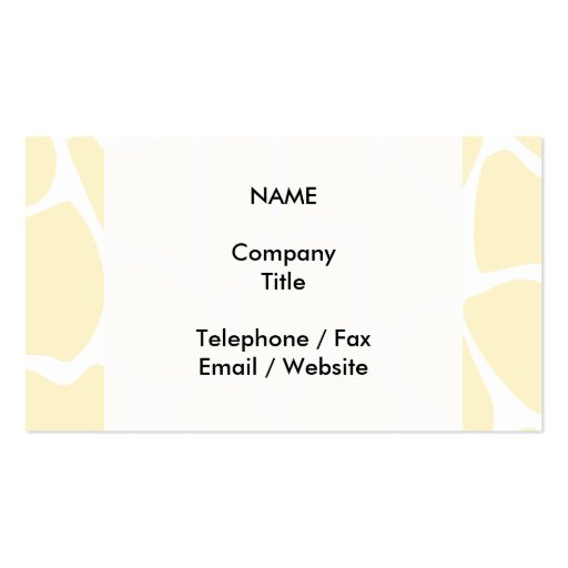 Giraffe Print Pattern in Cream Color. Business Card