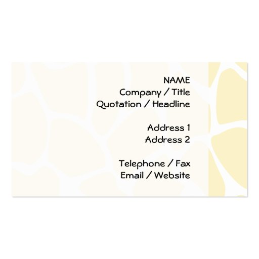 Giraffe Print Pattern in Cream Color. Business Cards