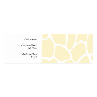 Giraffe Print Pattern in Cream Color. Pack Of Skinny Business Cards
