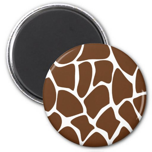 Giraffe Print Pattern in Dark Brown. 6 Cm Round Magnet