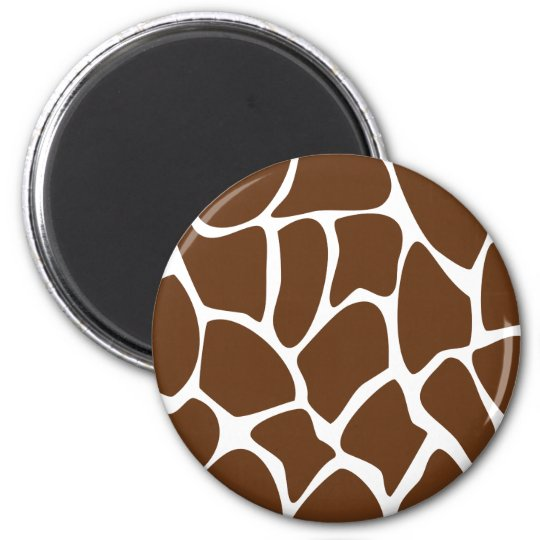 Giraffe Print Pattern in Dark Brown. 6 Cm Round Magnet