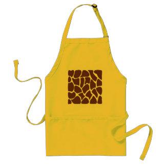 Giraffe Print Pattern in Dark Brown Aprons