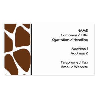 Giraffe Print Pattern in Dark Brown. Double-Sided Standard Business Cards (Pack Of 100)