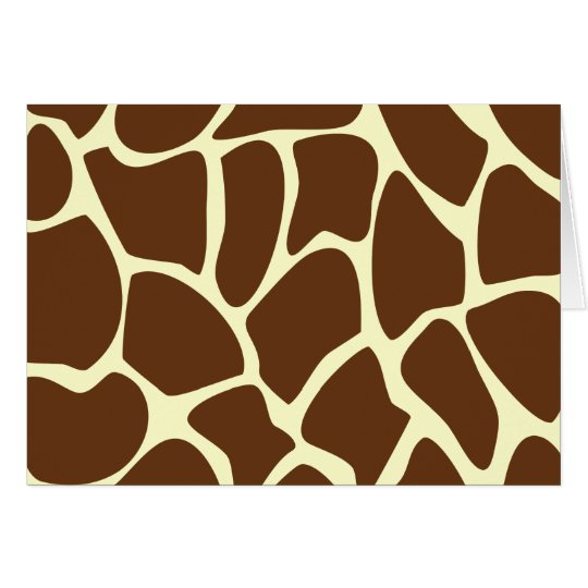 Giraffe Print Pattern in Dark Brown. Card