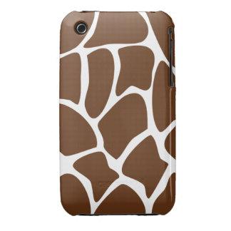 Giraffe Print Pattern in Dark Brown. iPhone 3 Cases