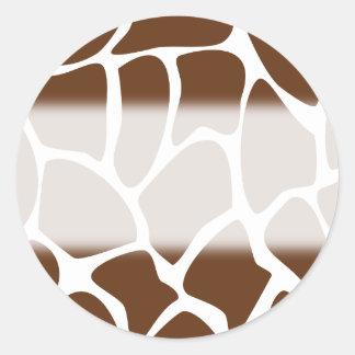 Giraffe Print Pattern in Dark Brown Round Sticker