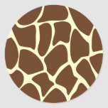 Giraffe Print Pattern in Dark Brown. Round Stickers