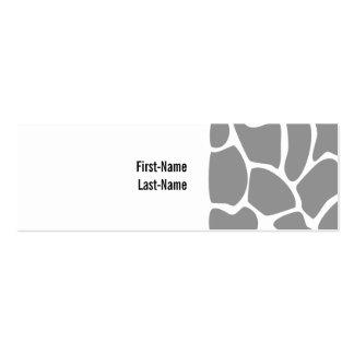 Giraffe Print Pattern in Gray. Business Cards