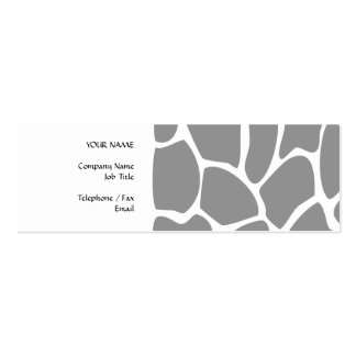 Giraffe Print Pattern in Gray. Business Cards