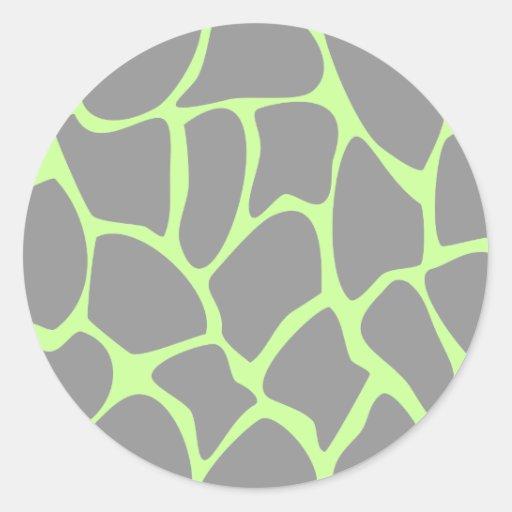 Giraffe Print Pattern in Gray. Round Stickers