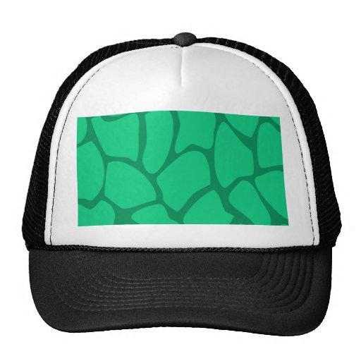 Giraffe Print Pattern in Jade Green. Hats