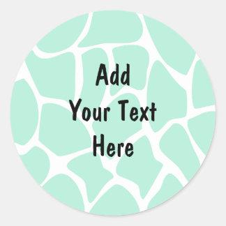 Giraffe Print Pattern in Jade Green. Round Sticker