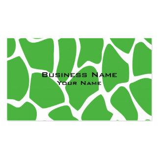 Giraffe Print Pattern in Jungle Green. Business Card Template