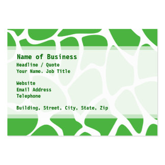 Giraffe Print Pattern in Jungle Green. Large Business Cards (Pack Of 100)