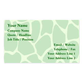 Giraffe Print Pattern in Jungle Green. Double-Sided Standard Business Cards (Pack Of 100)