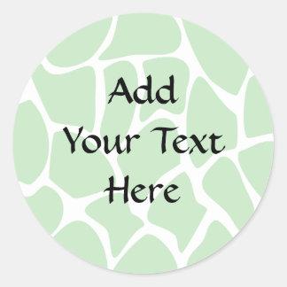 Giraffe Print Pattern in Jungle Green. Round Sticker