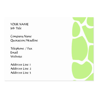 Giraffe Print Pattern in Light Lime Green. Large Business Cards (Pack Of 100)
