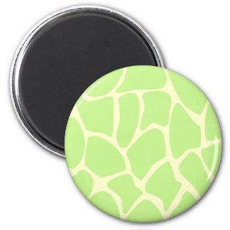 Giraffe Print Pattern in Light Lime Green. Fridge Magnets