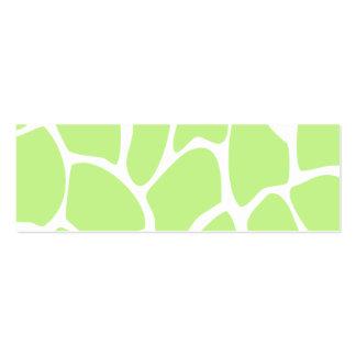 Giraffe Print Pattern in Light Lime Green. Pack Of Skinny Business Cards