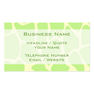 Giraffe Print Pattern in Light Lime Green. Pack Of Standard Business Cards