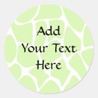 Giraffe Print Pattern in Light Lime Green. Round Stickers