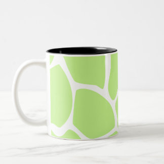 Giraffe Print Pattern in Light Lime Green. Two-Tone Coffee Mug