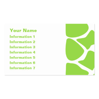 Giraffe Print Pattern in Lime Green. Double-Sided Standard Business Cards (Pack Of 100)