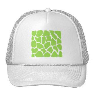 Giraffe Print Pattern in Lime Green. Trucker Hats