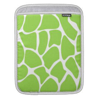 Giraffe Print Pattern in Lime Green. iPad Sleeves