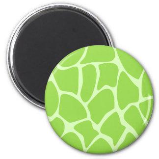 Giraffe Print Pattern in Lime Green. Fridge Magnets