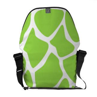 Giraffe Print Pattern in Lime Green. Commuter Bags
