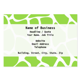 Giraffe Print Pattern in Lime Green. Pack Of Chubby Business Cards