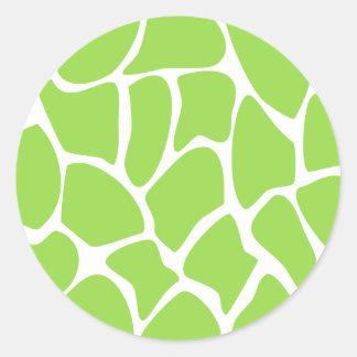 Giraffe Print Pattern in Lime Green Round Sticker