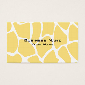 Giraffe Print Pattern in Yellow. Business Card