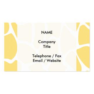 Giraffe Print Pattern in Yellow. Business Card