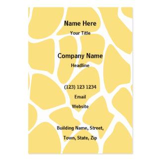 Giraffe Print Pattern in Yellow. Business Card Templates