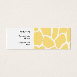 Giraffe Print Pattern in Yellow. Mini Business Card