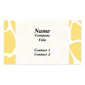 Giraffe Print Pattern in Yellow. Pack Of Standard Business Cards