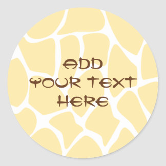 Giraffe Print Pattern in Yellow. Round Sticker