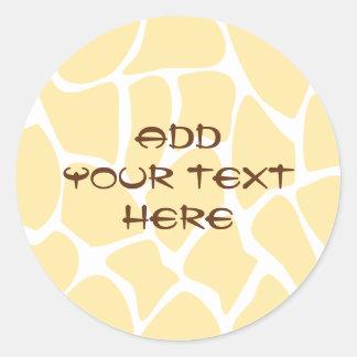 Giraffe Print Pattern in Yellow. Stickers