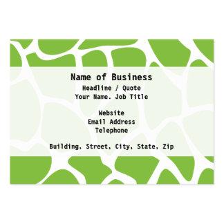 Giraffe Print Pattern. Safari Green. Large Business Cards (Pack Of 100)