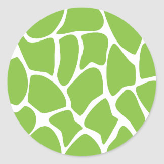 Giraffe Print Pattern. Safari Green. Classic Round Sticker