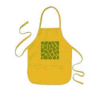 Giraffe Print Pattern. Safari Green. Kids Apron