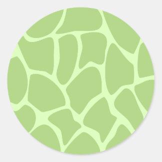Giraffe Print Pattern. Safari Green. Round Stickers