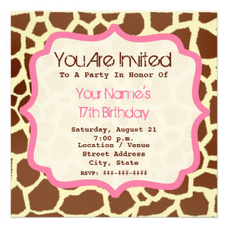 Giraffe Print Pink Birthday Party Invitation