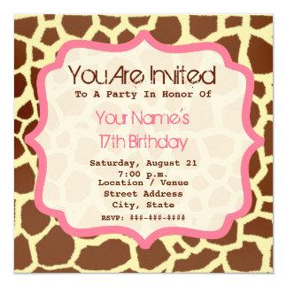 Giraffe Print & Pink Birthday Party Invitation